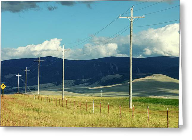 Rural Power Line Greeting Card by Todd Klassy