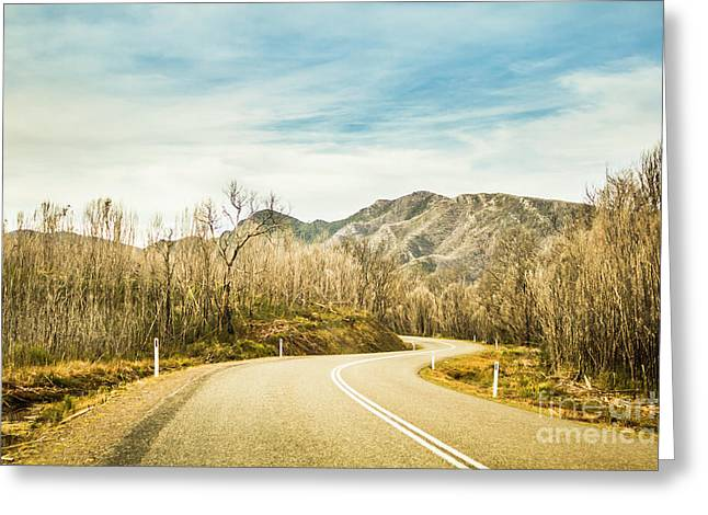 Rural Road To Australian Mountains Greeting Card
