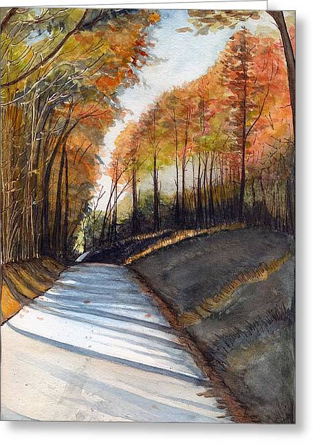 Rural Route In Autumn Greeting Card