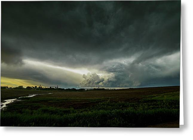 Rural Spring Storm Over Chester Nebraska Greeting Card