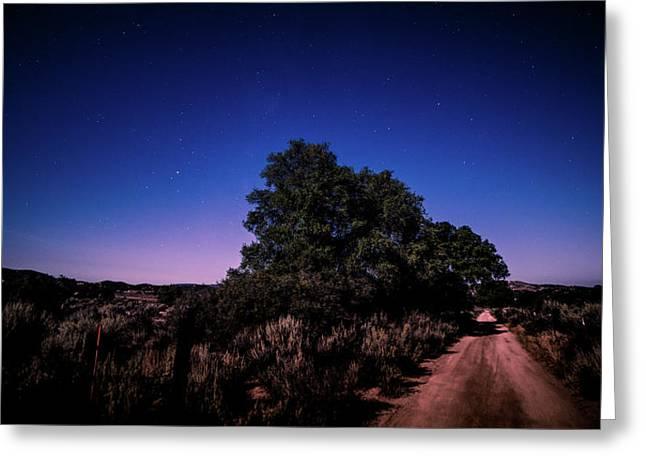 Rural Starlit Road Greeting Card