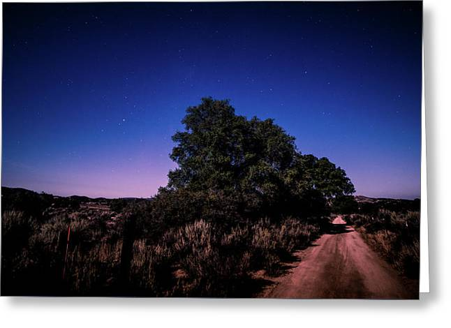 Greeting Card featuring the photograph Rural Starlit Road by T Brian Jones