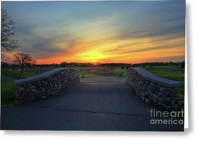 Rush Creek Golf Course The Bridge To Sunset Greeting Card