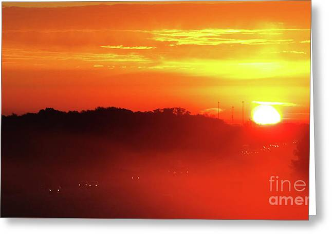 Rush Hour Begins At Sunrise I 94 To Madison Wisconsin Greeting Card