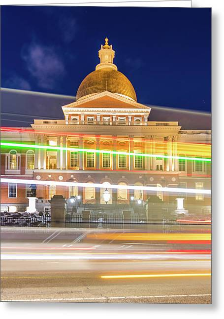 Rush Hour In Front Of The Massachusetts Statehouse Greeting Card