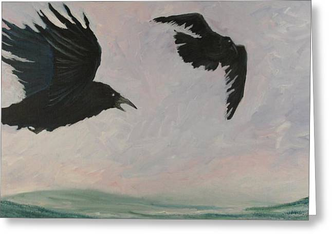 Rush Hour Ravens Greeting Card by Amy Reisland-Speer