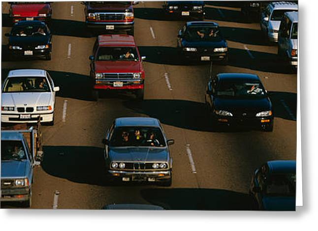 Rush Hour Traffic On Los Angeles Freeway Greeting Card by Panoramic Images