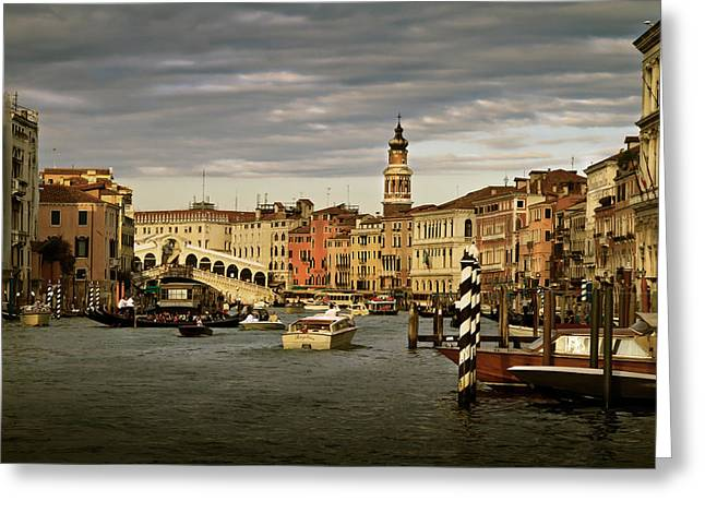Greeting Card featuring the photograph Rush Hour Venice by John Hix