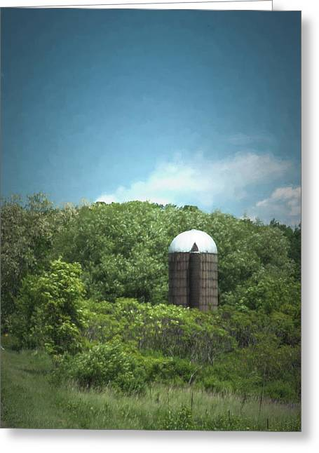 Rushford Silo Greeting Card by Guy Whiteley