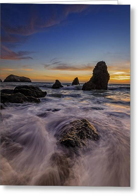 Rushing Tide On Rodeo Beach Greeting Card by Rick Berk