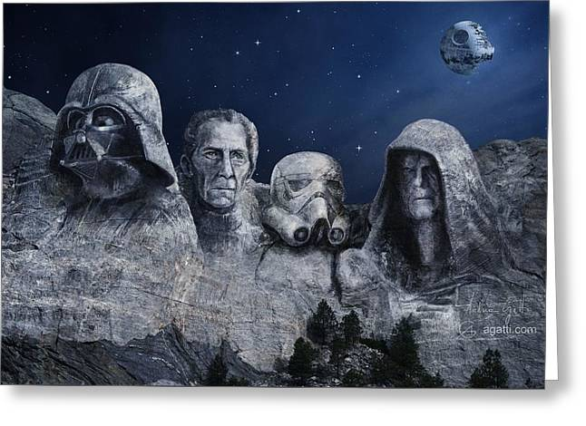 Rushmore Dark Force  Greeting Card by Andrea Gatti