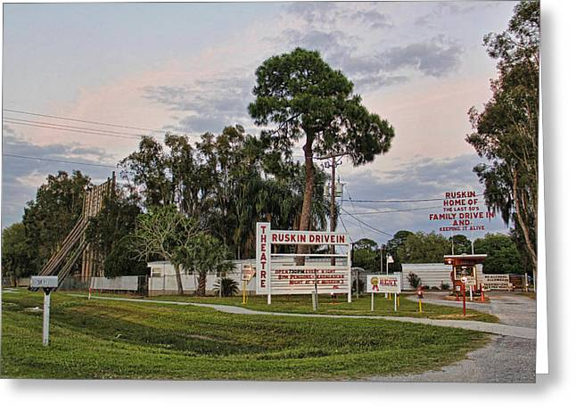 Ruskin Drive-in Theater By H H Photography Of Florida  Greeting Card by HH Photography of Florida