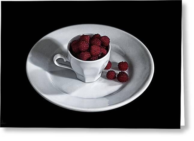 Ruspberries In The Cup - Livid Still-life Greeting Card