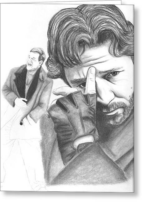 Russel Crowe Greeting Card by Rebecca Bellomo