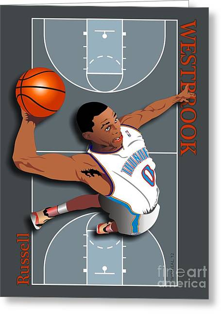 Russell Westbrook, No. 0 Greeting Card by Walter Oliver Neal