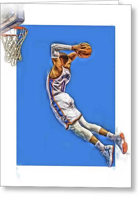 Russell Westbrook Oklahoma City Thunder Oil Art 3 Greeting Card by Joe Hamilton