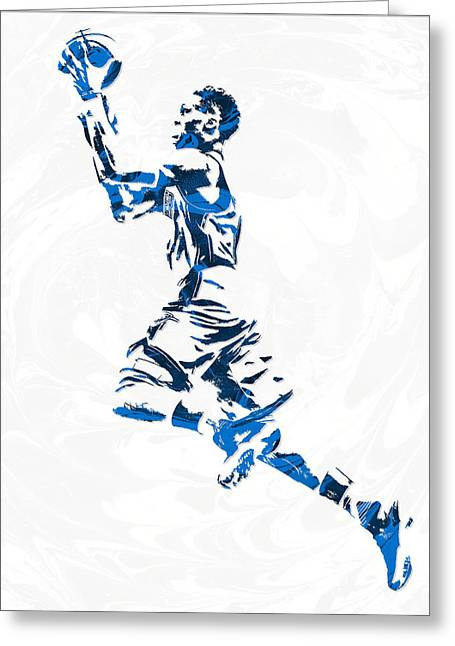 Russell Westbrook Oklahoma City Thunder Pixel Art 10 Greeting Card