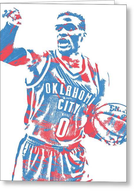 Russell Westbrook Oklahoma City Thunder Pixel Art 15 Greeting Card