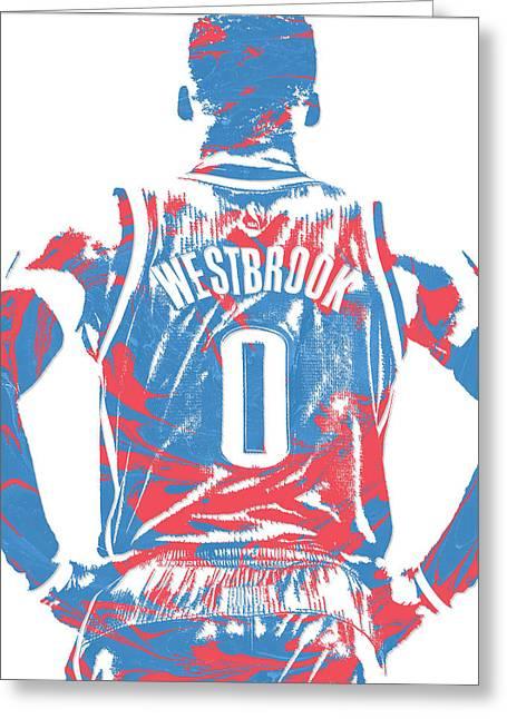 Russell Westbrook Oklahoma City Thunder Pixel Art 16 Greeting Card