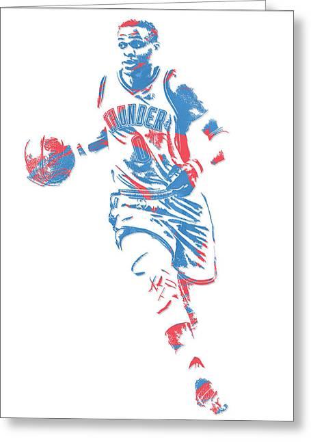 Russell Westbrook Oklahoma City Thunder Pixel Art 17 Greeting Card