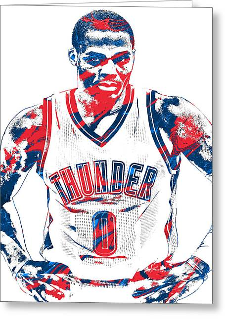 Russell Westbrook Oklahoma City Thunder Pixel Art 4 Greeting Card by Joe Hamilton