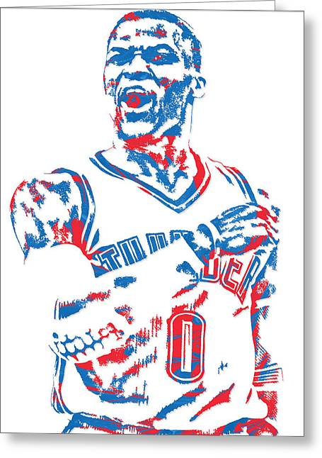Russell Westbrook Oklahoma City Thunder Pixel Art 6 Greeting Card