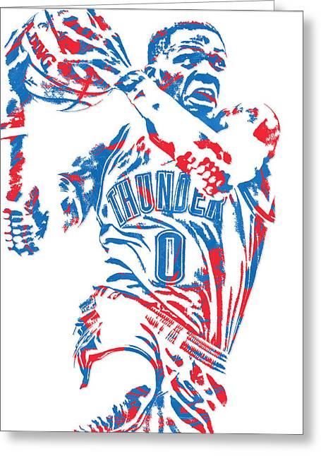 Russell Westbrook Oklahoma City Thunder Pixel Art 8 Greeting Card