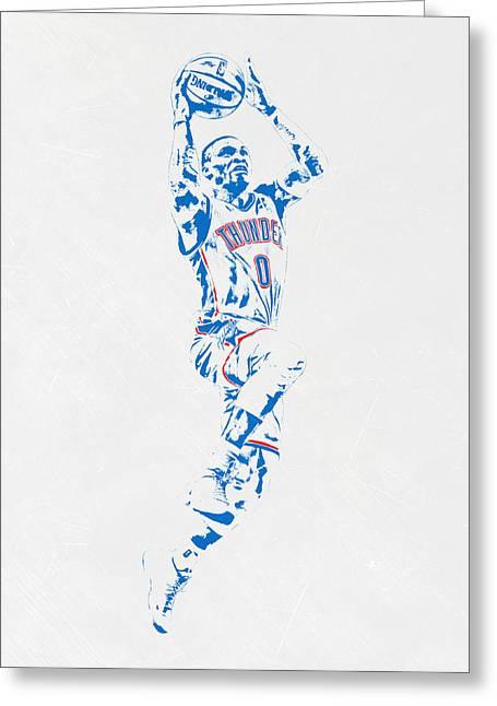 Russell Westbrook Oklahoma City Thunder Pixel Art Greeting Card by Joe Hamilton