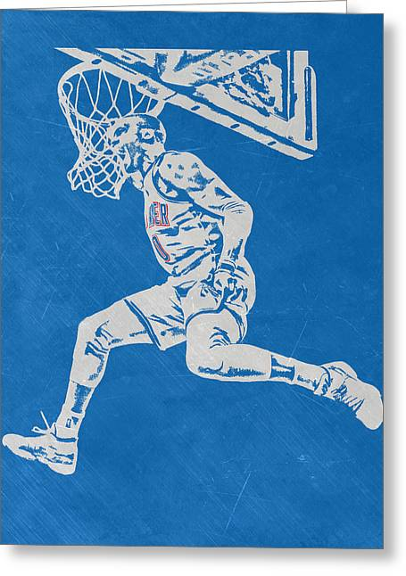 Russell Westbrook Scratched Metal Art 1 Greeting Card by Joe Hamilton