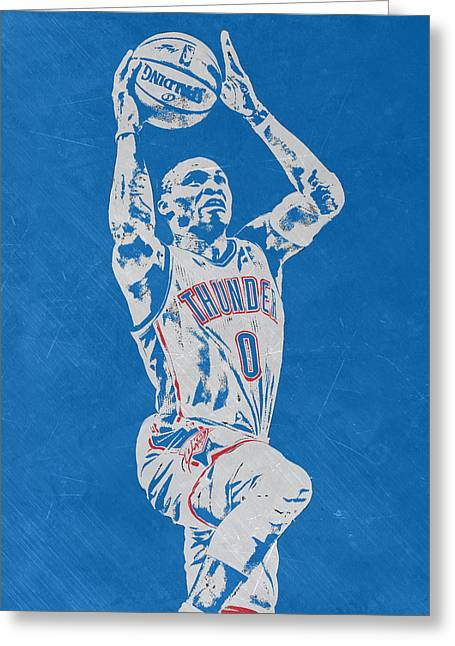 Russell Westbrook Scratched Metal Art 2 Greeting Card by Joe Hamilton