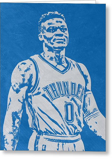 Russell Westbrook Scratched Metal Art 3 Greeting Card by Joe Hamilton