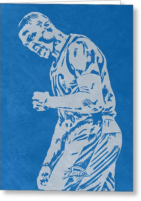Russell Westbrook Scratched Metal Art 4 Greeting Card by Joe Hamilton