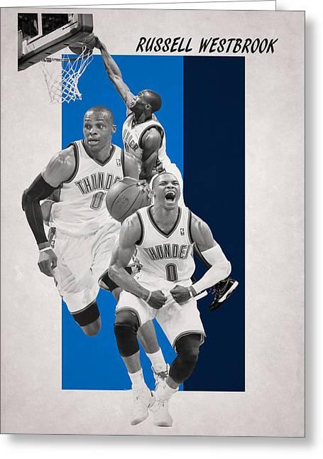 Russell Westbrook Thunder Greeting Card by Joe Hamilton