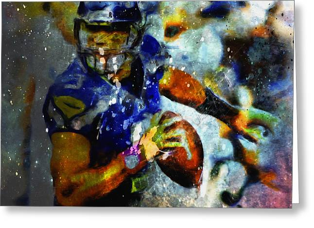 Russell Wilson On The Move 1a Greeting Card by Brian Reaves