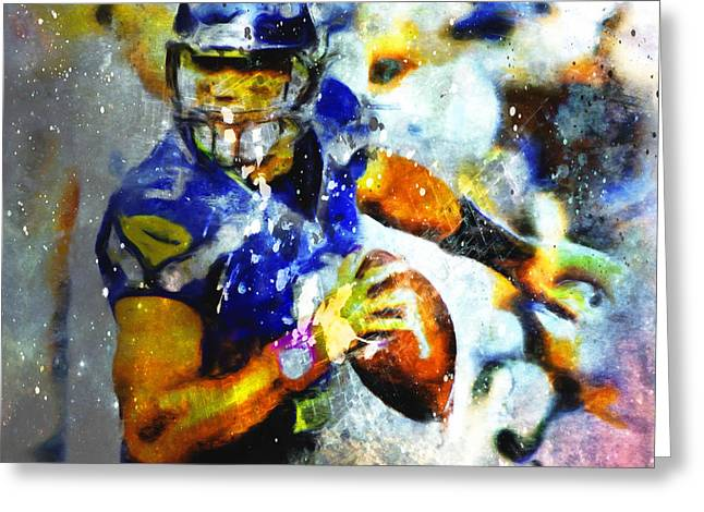 Russell Wilson On The Move 1b Greeting Card by Brian Reaves