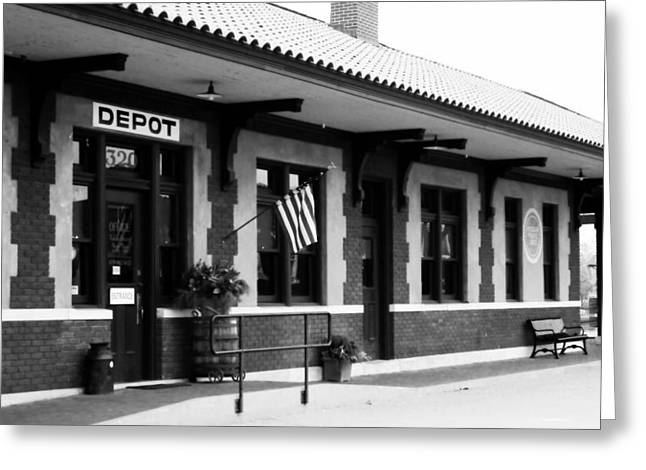 Russellville Depot In Black N White Greeting Card