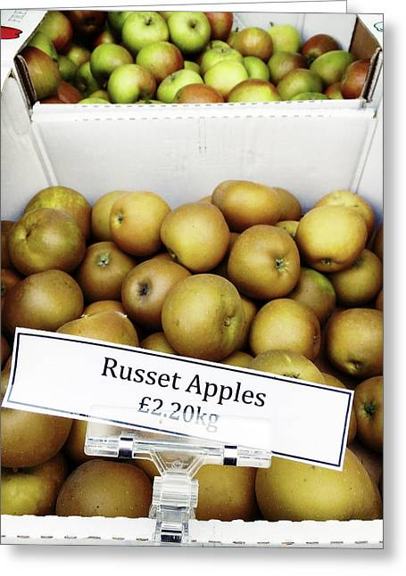 Russet Apples For Sale Greeting Card by Tom Gowanlock