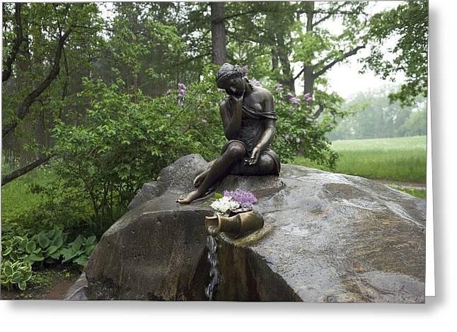 Russia, Tzarskoje Selo, Statue Greeting Card by Keenpress