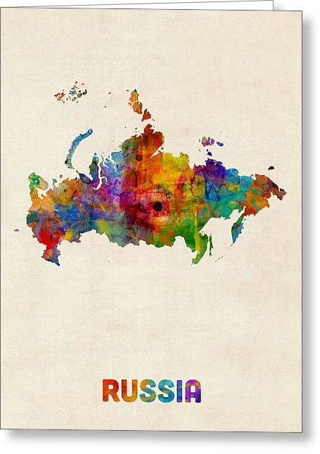 Russia Watercolor Map Greeting Card by Michael Tompsett