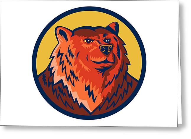 Russian Bear Head Circle Retro Greeting Card by Aloysius Patrimonio