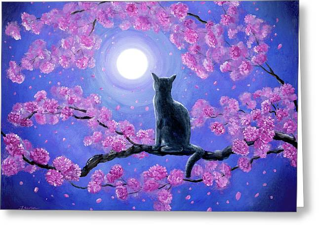 Russian Blue Cat In Pink Flowers Greeting Card by Laura Iverson