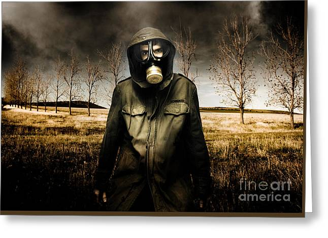 Russian Military Fighter Standing In A Dead Autumn Field As Contaminated Poisonous Air Falls From Th Greeting Card by Caio Caldas