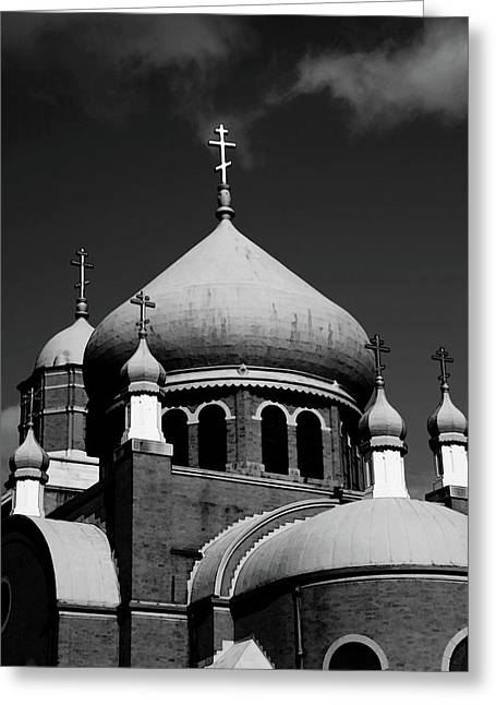 Russian Orthodox Church Bw Greeting Card by Karol Livote