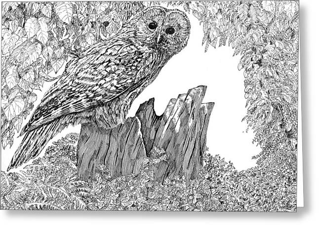 Russian Owl Greeting Card by Leonie Bell