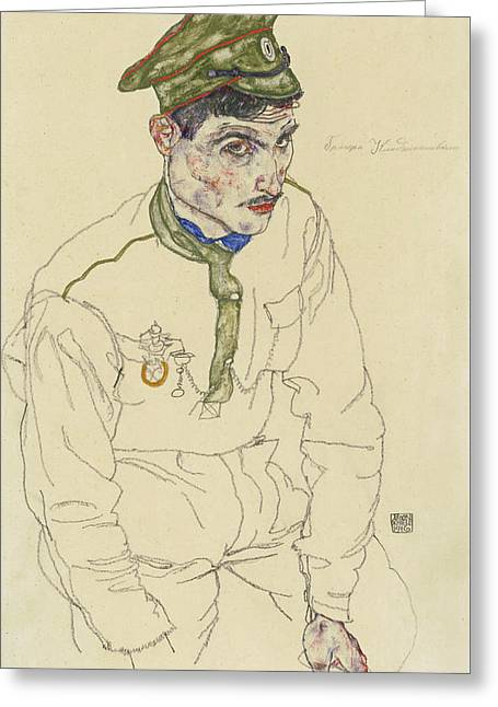 Russian War Prisoner Greeting Card by Egon Schiele