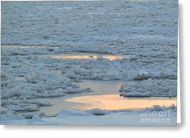 Russian Waterway Frozen Over Greeting Card by Margaret Brooks