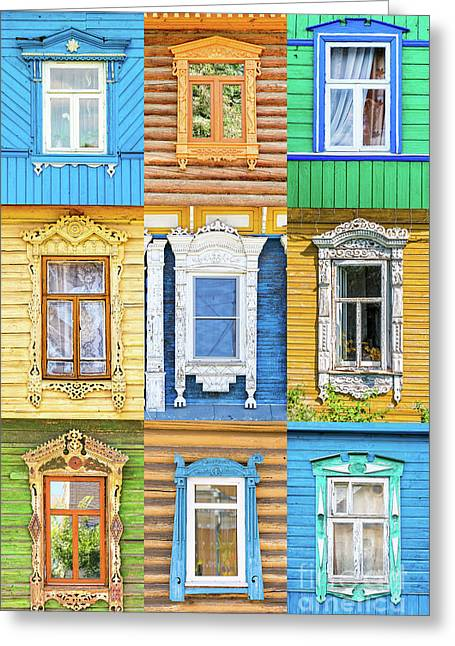Greeting Card featuring the photograph Russian Windows by Delphimages Photo Creations