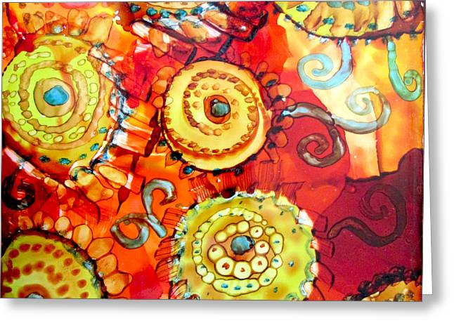 Rust And Gears Greeting Card by Jeanette Skeem