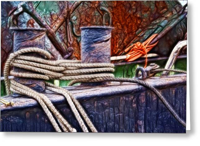 Rust And Rope Greeting Card by Cameron Wood
