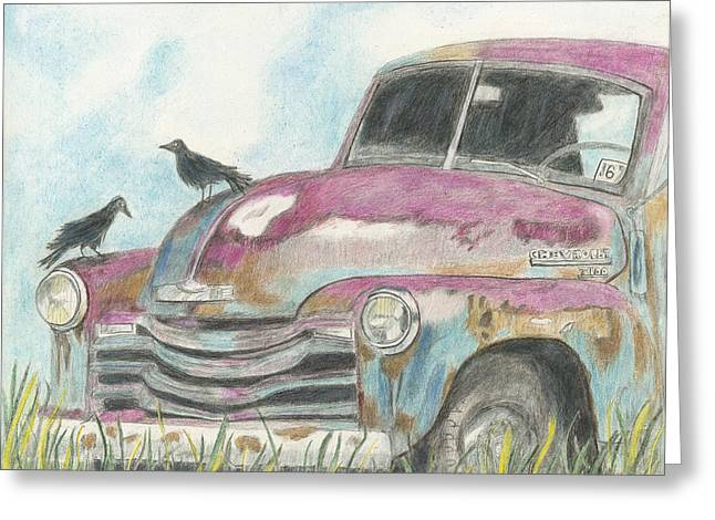 Greeting Card featuring the drawing Rust In Peace by Arlene Crafton